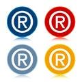 Registered symbol icon trendy flat round buttons set illustration design