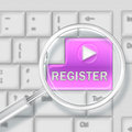 Registration concept finding with keyboard button Royalty Free Stock Photo