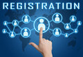 Registration concept with hand pressing social icons on blue world map background Stock Images