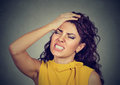 Regretful young woman made mistake Royalty Free Stock Photo