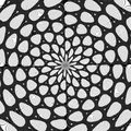 Regular black and white curled pattern aligned radially. Halftone line ring illustration. Abstract fractal background.