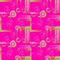 Regular circles pattern magenta violet pink green overlaying blurred