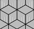Regular contrast endless pattern with intertwine three dimension dimensional figures continuous illusory geometric background Stock Image