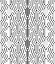 Regular contrast endless pattern with intertwine three dimension dimensional figures continuous illusory geometric background Stock Photography