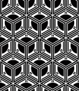 Regular contrast endless pattern with intertwine three dimension dimensional figures continuous illusory geometric background Stock Photo