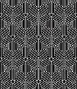 Regular contrast endless pattern with intertwine three dimension dimensional figures continuous illusory geometric background Royalty Free Stock Image
