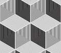 Regular contrast endless pattern with intertwine three dimension dimensional figures continuous illusory geometric background Stock Photos