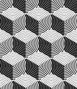 Regular contrast endless pattern with intertwine three dimension dimensional figures continuous illusory geometric background Royalty Free Stock Photography