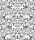 Regular contrast endless pattern with intertwine three dimension dimensional figures continuous illusory geometric background Stock Images