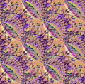 Regular intricate pattern in purple shades on light brown diagonally