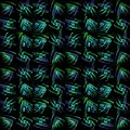 Regular pattern green turquoise purple in squares shifted on black Royalty Free Stock Photo