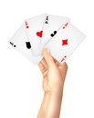 Regular playing cards spread holding hand gambling entertainment business decorative poster print with high four aces abstract Royalty Free Stock Photos