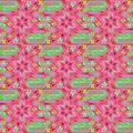 Regular seamless intricate pattern pink red violet and light green