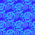 Regular spirals and circles pattern in turquoise and blue shades overlaying Royalty Free Stock Photo
