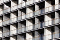 Regular structure of windows and balconies modern building Royalty Free Stock Images