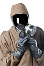 Regulating the gas mask a man wearing an nbc suite nuclear biological chemical Stock Image