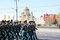 Rehearsal battalion officers moscow russia may military march at the parade at the stone bridge Royalty Free Stock Photos