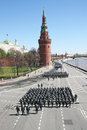 Rehearsal of the parade moscow russia may soldiers marines marching on on waterfront in honor victory in world war ii Royalty Free Stock Images