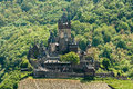 Reichsburg castle cochem view of in in germany from pinnerkreuz Royalty Free Stock Images