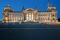 The Reichstag in Berlin at night Royalty Free Stock Images