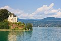 Reifnitz castle on lake worth in carinthia austria view of Stock Photography