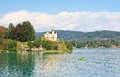 Reifnitz castle on lake worth in carinthia austria view of Stock Images