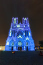 Reims cathedral light show at the of notre dame de france Royalty Free Stock Images