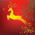 Rein deer stylized with scrolls christmas new year background Stock Photo