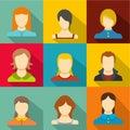 Reincarnation icons set, flat style Royalty Free Stock Photo