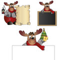 Reindeer with blackboard card and parchment Royalty Free Stock Image