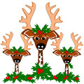 Reindeer cheer three that are decorated up with holly and berries for the holiday Royalty Free Stock Images