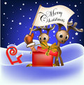 Reindeer and christmas flag in santaclaus hand Royalty Free Stock Photo