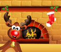 Reindeer at christmas illustration of sock on fireplace Stock Photo