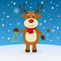 Reindeer christmas on the snow happy cartoon character playing triangle in a snowy scene eps file available Stock Photo