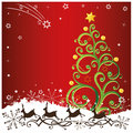 Reindeer christmas stars with tree background Royalty Free Stock Photography