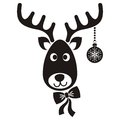 Reindeer face cute black vector cartoon christmas icon Stock Photos