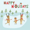 Reindeer family ice skating happy holiday banner vector illustr illustration eps Stock Photography