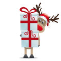 Reindeer hold gift boxes Stock Photo