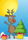 Reindeer illustration of in a beautiful nature Stock Photos