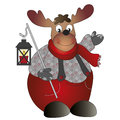 Reindeer illustration of with lantern Stock Images