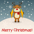 Reindeer merry christmas card with a cartoon playing the cymbals in a snowy scene eps file available Stock Images