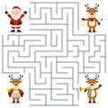 Reindeer orchestra maze for kids a christmas with three cute characters playing musical instruments game children help the three Stock Photography