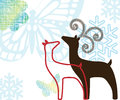 Reindeer pair with graphic elements couple male and female butterflies and snowflakes Royalty Free Stock Photo