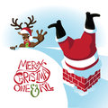 Reindeer reaches for santa stuck in the chimney eps vector Royalty Free Stock Photo