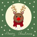 Reindeer with Red Scarf on Green Christmas Greeting Card. Vector Illustration