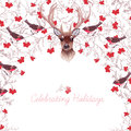 Reindeer rowanberry bullfinches and tree branches round vector red design frame Royalty Free Stock Image