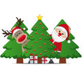 Reindeer santa claus christmas tree gift Royalty Free Stock Photo