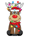Reindeer with santa claus hat and christmas lights Royalty Free Stock Images
