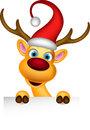 Reindeer and santa hat with blank sign illustration of Royalty Free Stock Photo