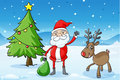 A reindeer and santaclause Stock Photography